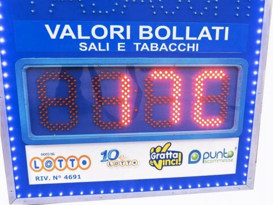 Insegna Tabacchi con display a led ora, datario, temperatura